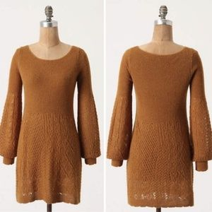 Knitted Knotted Bishop Sleeve Pointelle Tunic Med